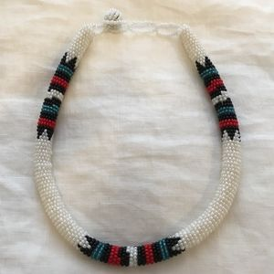 White Beaded Choker Necklace with Tribal Details